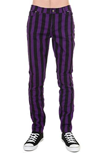Clothes Mod 60s - Mens Indie Vintage Retro 60s 70s Mod Black Purple Striped Stretch Skinny Jeans