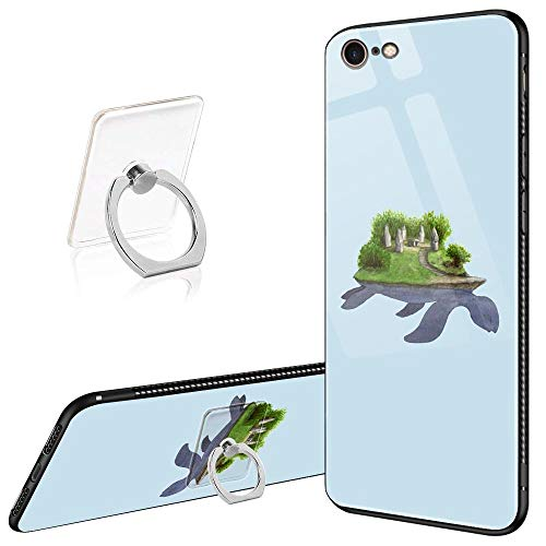 iPhone 6 Plus Case,iPhone 6s Plus Cases Tempered Glass Pattern Painted Turtle Island Cover for iPhone 6/6s Plus