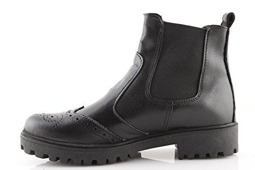 Beatles Nero Italiane Boots Stivaletti Eleganti Donna Biker Anfibi Invernali Francesine Pelle Scarpe Neri Bwdx7P