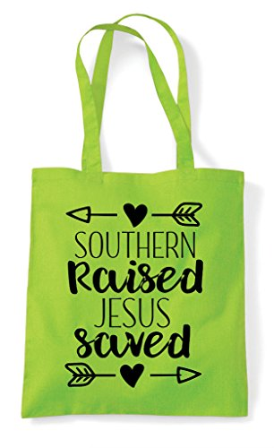 Bag Shopper Jesus Southern Tote Statement Raised Saved Lime gYxxwXq