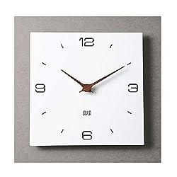 Laylan 11.4 White Square Non Ticking Wooden Wall Clock Simple Modern Scandinivian Design (Bars)