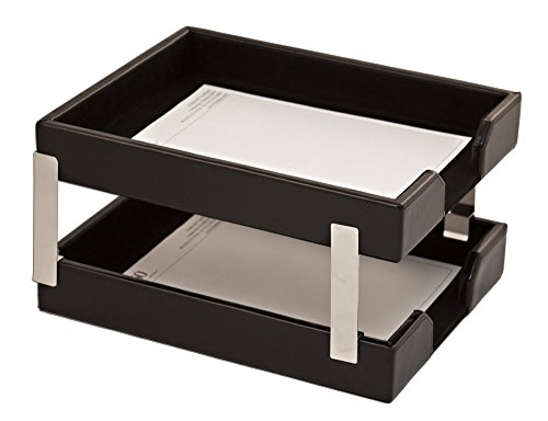 (Dacasso Office Organization Paper Document Mail Storage Desktop Decorative Econo-Line Black Leather Double Letter Trays electronic consumers)