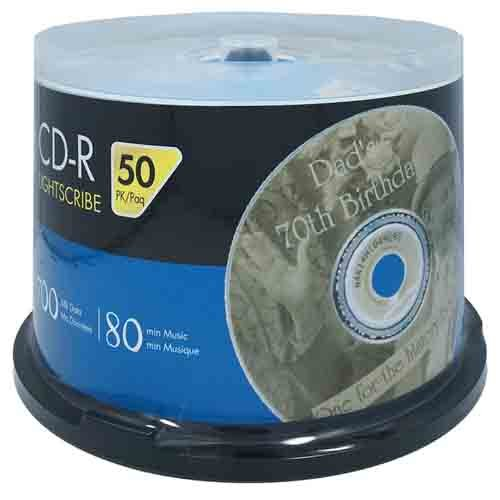 HP LightScribe CD-R 52X Blank Disc Storage Printable Media 700MB 80min-50pk by AMBA7