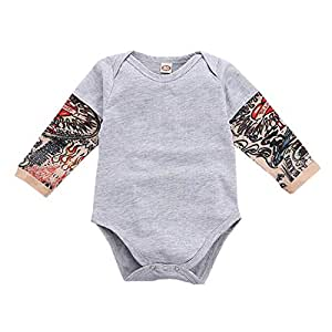 ALLAIBB Infant Babies Romper Cotton Long Sleeve&Embroidery Print Triangle Baby Jumpsuit