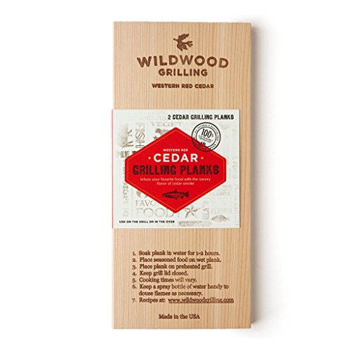 Premium Cedar Wood Grilling Planks (2-Pack) for Cooking Salmon, Vegetables and More - 2-4 Servings (5x11) - Made in USA