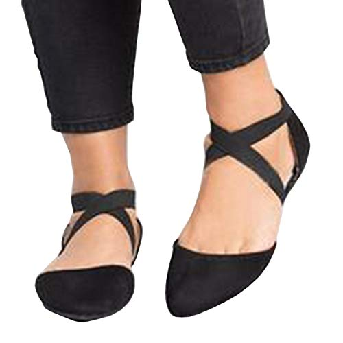 (Womens Pointed Toe Ballerina Slip On Flats Criss Cross Straps Ballet Work Walking Shoes)