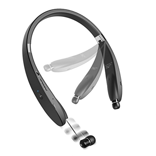 Neckband Hi-Fi Wireless Bluetooth Headset Retractable Earbuds Hands-free Mic for Net10, StraightTalk, Tracfone Samsung Galaxy S7, S6, Edge+, S5, S4, Grand, Core Prime, J1 J5 J7, Galaxy Note 5 4 3 Edge