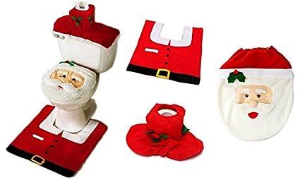 Copri Wc Babbo Natale.Eglemtek Completo Da Bagno Natalizio Con Copriwater Di Babbo Natale Tappetino E Portarotolo