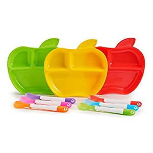 Munchkin Tiny Diner 9 Piece Apple Plate and Spoon Set