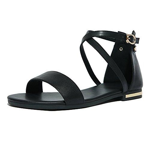 AalarDom Mujer Puntera Abierta Mini Tacón Pu Sólido Hebilla Sandalias de vestir Negro-X