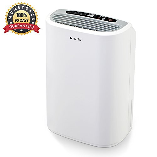 Inofia Air Dehumidifier Intelligent Dehumidifier Powerful& Thermo-Electric  Mould/Damp/Moisture Remover 1.8L Water Tank Mid-Size Dehumidifier - Perfect for Home/School/Office, White, 60-DAY Money Ba