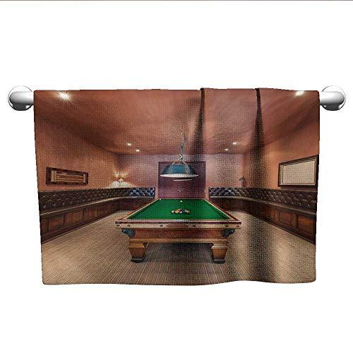 xixiBO Baby Bath Towel W24 x L8 Modern,Entertainment Room in Mansion Pool Table Billiard Lifestyle Photo Print,Cinnamon Brown Green Shower Towel