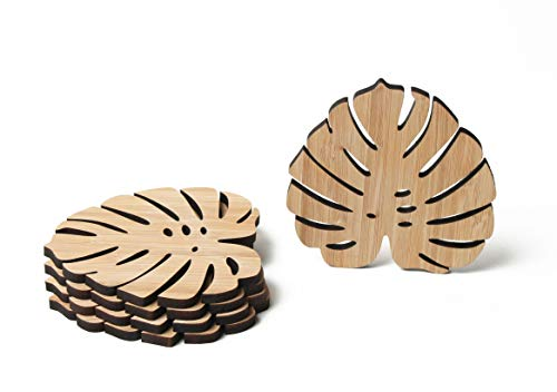 Tropical Leaves Wooden Coasters 5pc Jungle Plant Eco-Friendly Safari Hawaiian Luau, Tiki Bar Aloha Beach Drinks Table Botanical Leaf Decorations for Cold Drinks, Wine Glasses, Cups & Mugs, Bar Table