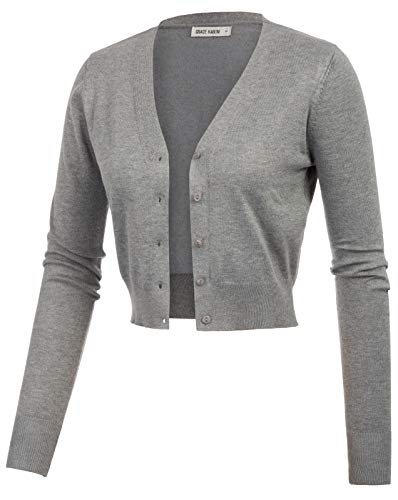 GRACE KARIN Lightweight Stretch Cropped Bolero Shrug Jacket Grey Size L CL2000-9