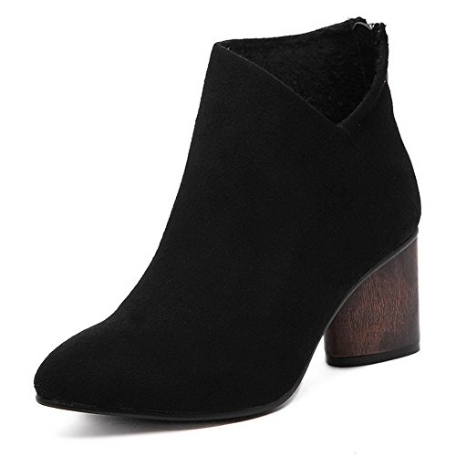 high AgooLar Heels Boots Women's Ankle Frosted Black Kitten Solid Pointed Closed Toe Cx67Owgqx