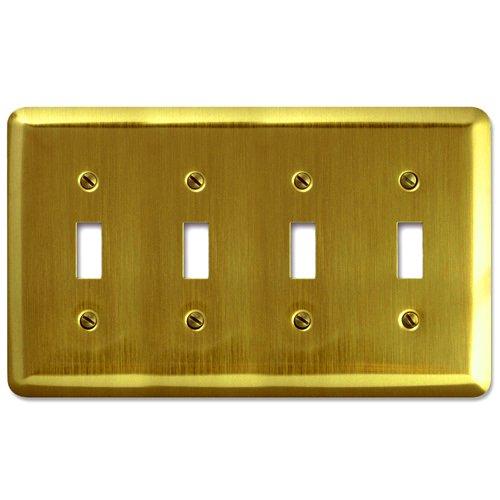 Amerelle Devon Quadruple Toggle Steel Wallplate in Brushed Brass