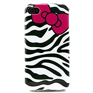 JAJAY- Zebra with Bow Pattern TPU Soft Case for iPhone 4/4S