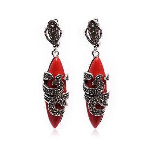 - GEM-inside Earrings Red Stone Gemstone Beads Rhombue Tibetan Silver Dangle Stud Hoop Fashion Jewelry for Woman 10x30mm