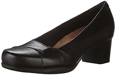 CLARKS Women's Rosalyn Belle Dress Pump, Black Leather, 6.5 M US