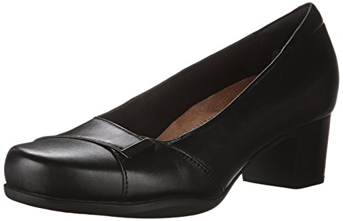 CLARKS Women's Rosalyn Belle Dress Pump, Black Leather, 9 M US