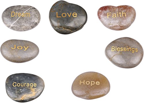 Holy Land Market 7 Polished River Stones Engraved with Inspirational Words in - Word Stone Engraved