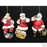 Kurt Adler Coca Cola Santa Claus Ornament Lot of 3