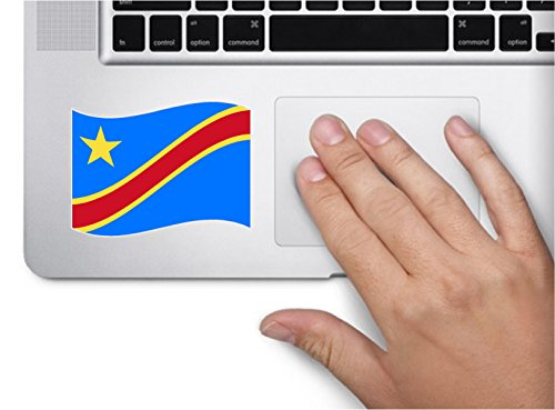Waving flag congo kinshasa 4x2.5 flag country symbol love humor america united states color sticker state decal vinyl - Made and Shipped in - Flag Kinshasa Congo