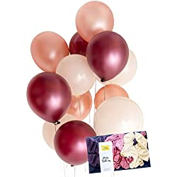 "Modern Rose Pink Gold Burgundy Latex Party Balloon Decoration 30 x Tough 12"" Hen Bridal Wedding Birthday Party Baby Shower Photobooth, Backdrop, Balloon Arch - by TOKYO SATURDAY (Burgundy Rose, 30)"