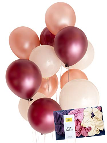 "Rose Pink Gold Burgundy Cream Latex Party Balloon Decoration 30 x Tough 12"" Hen Bridal Wedding Birthday Party Baby Shower Photobooth, Backdrop, Balloon Arch - by TOKYO SATURDAY (Burgundy Rose, 30)"