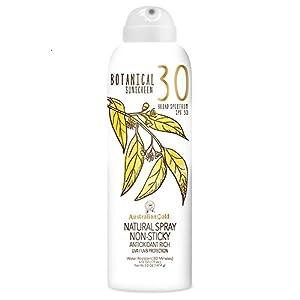 Australian Gold Botanical Sunscreen Natural Spray SPF 30, 6 Ounce   Broad Spectrum   Water Resistant