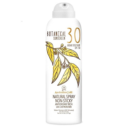 Australian Gold Botanical Sunscreen Natural Spray, Broad Spectrum, Water Resistant, SPF 30, 6 Ounce