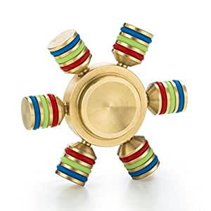 Spin Wars – 6 Sided Metallic Fidget Spinner - Customizable, Glow in the Dark Anxiety, Stress Relief (Gold)