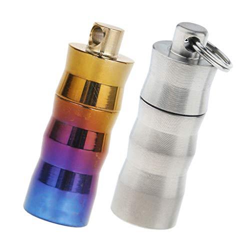 2Pcs Titanium Storage Box Case Keychain Sealed Perfume Case Everyday Carrier ()