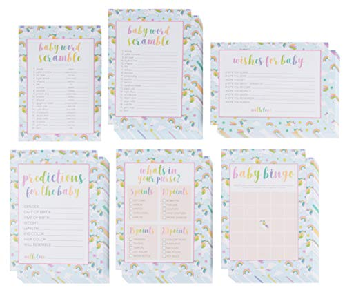 Baby Shower Game Card Packs - 5-Set Assorted Party Activity Supplies for 50 Guests, Including Bingo, Word Scramble, and Well Wishes, Unicorn and Clouds Design, 50 Sheets, 5 x 7 Inches