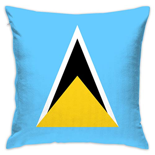 LNC 01P Flag of Saint Lucia Throw Pillow Cases Flax Cushion Cover Car Sofa Home Decorative 18x18 Pillowcase (Set of 2) for Home Sofa Decorative Office Chairs, Cars, Bars (Lucia Accent Chair)