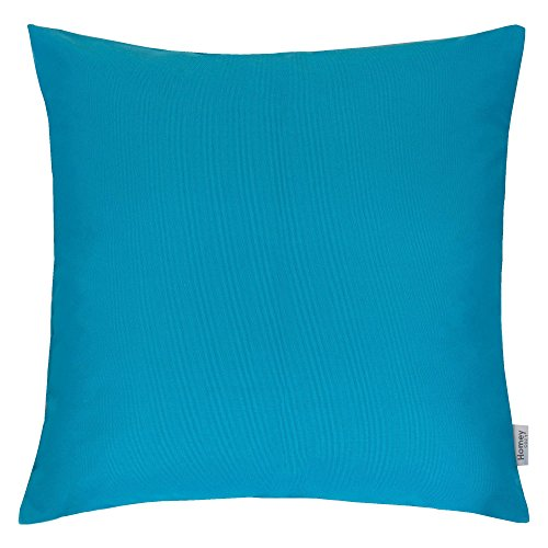 Homey Cozy Outdoor Throw Pillow Cover, Classic Solid Aqua Blue Large Pillow Cushion Water/UV Fade/Stain-Resistance For Patio Lawn Couch Sofa Lounge 20x20, Cover Only