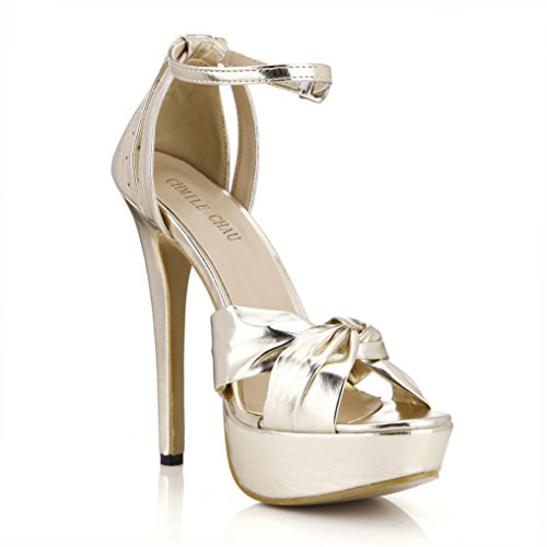 Sposa Piattaforma Nuziale metallic Sandali Eleganti Spillo Alto Oro Cinturino alla Moda CHAU 3cm Caviglia da Tacco a Scarpe Partito Donna CHMILE zSTqvxF