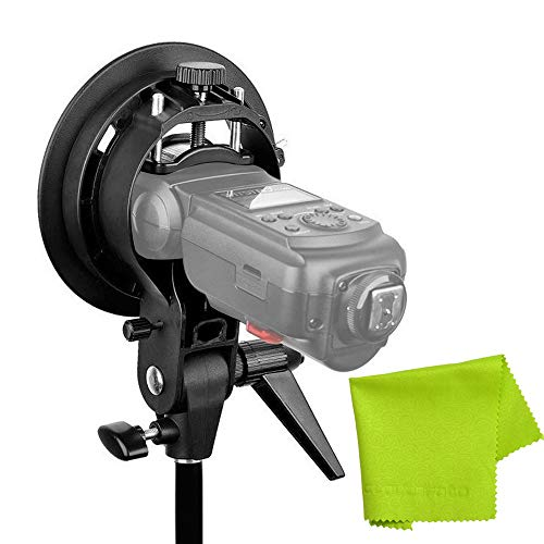 Godox S-Type Bracket Bowens Mount Holder for Speedlite Flash Snoot Softbox Honeycomb +CLOUDSFOTO Cleaning Cloth ()