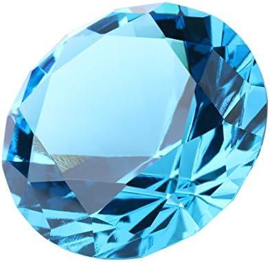 H & D 30 mm K9-Kristall Diamantschliff Form Briefbeschwerer Home Decor acid blue