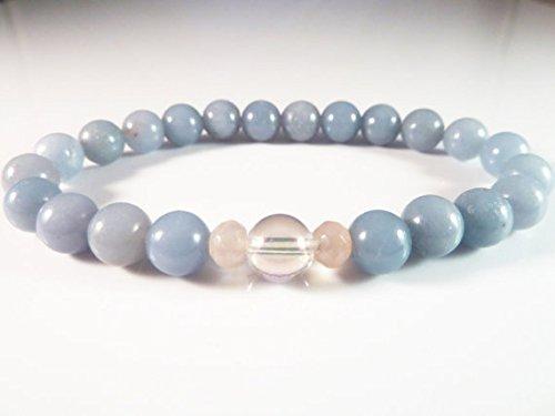 JP_Beads Angelite | Rose Quartz | Angel Aura Quartz Stretch Bracelet 8mm Gemstone Beads Iridescent Opal Aura