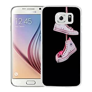 NEW Unique Custom Designed Samsung Galaxy S6 Phone Case With Hanging Converse White Pink_White Phone Case