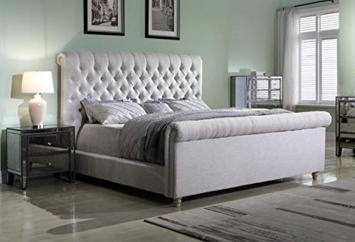 Best Master Furniture JC100 Jean-Carrie Upholstered Sleigh Bed King Beige