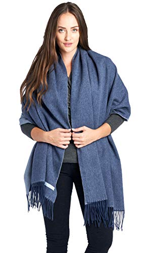 Mariyaab 100% Lambswool wool Women Solid Oversized Large Double Sided Pashmina Scarf Stole Shawl (915478,Navy/Lt Blue)