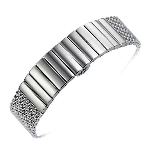 20mm Silver Metal Mesh Watch Band Straps Bracelets High-End Solid Stainless Steel Deployment Clasp (Relic Steel Mesh Watch)