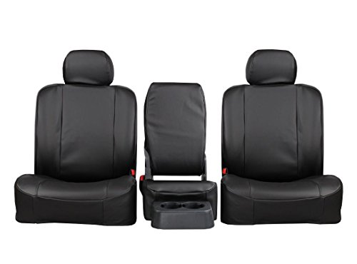 Rear SEAT: ShearComfort Custom Pro-Tect Vinyl Seat Covers for Dodge Ram Pickup 1500 (2011-2018) in Black for Solid Fold Up Bench w/ 3 Adjustable Headrests