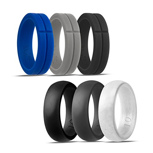 Blue Black Metal (Silicone Wedding Ring,Silicone Wedding Band for Men,Camo,6 Pack, Metal Look Silver, Black, Grey, Blue (Black,Light Grey,Blue+Black,Dark Grey,Silver, 8))