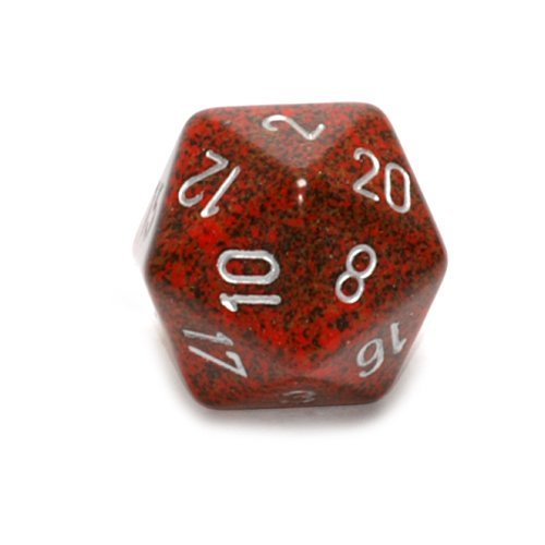Jumbo d20 Counter - Speckled 34mm Dice: Silve Volcano by Che