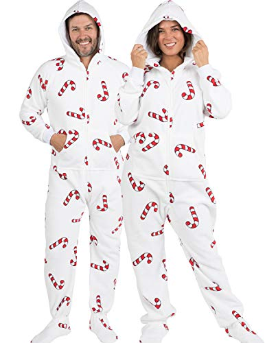 Footed Pajamas - - Candy Cane Lane Adult Hoodie Chenille Onesie - Small