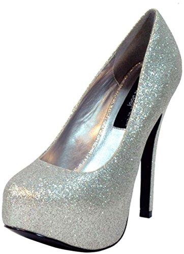 The Highest Heel Women's Kissable Pump,Silver Glitter Polyurethane,11 M US