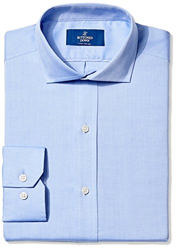 Mens Cutaway Collar Shirt - Buttoned Down Men's Fitted Cutaway-Collar Non-Iron Dress Shirt, Blue, 17.5